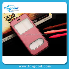 Promotional New Fashion Two Plastic Windows Mobile Phone Case, New Arrival Leather Case For iPhone6