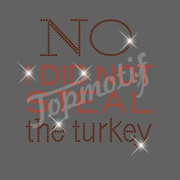Funny Letters Turkey Thanksgiving Day Rhinestone Tshirts Iorn On Transfer