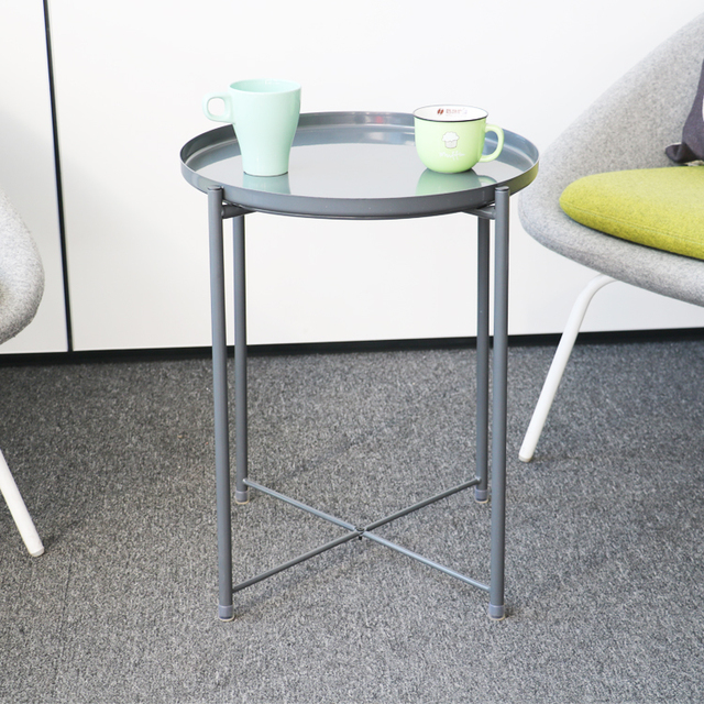 Korea style small metal shelf sofa side table Metal Disc Table