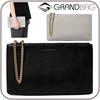 simple fashion daily leather women clutch hand bag with metal chain lanyard