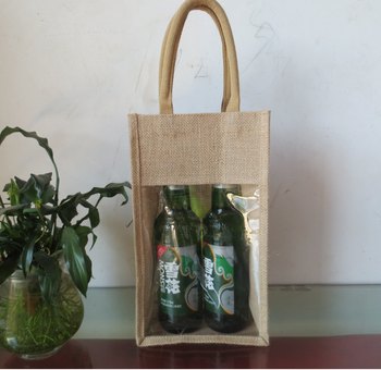Beautiful Small 2 Window Jute Wine Bag with Handles