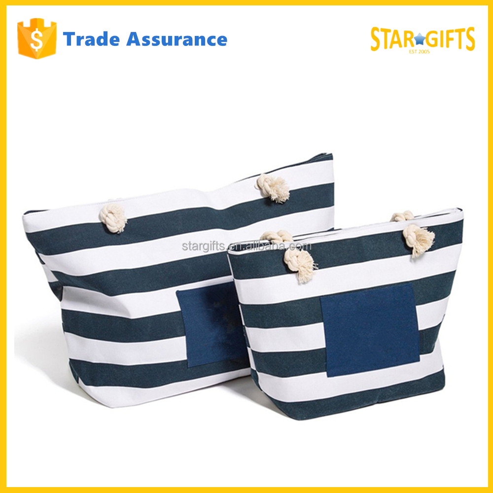 Custom Navy And White Stripes Canvas Beach Shopping Tote Bag With Cotton Ropes