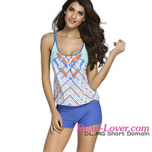 Wholesale Printed Layered-Style Blue Sexy School Girl Bikini with Swim Trunks