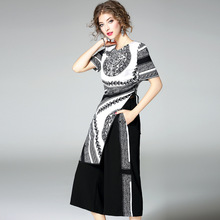 New classic design piping crew neck short sleeve printing ladies dressing/pant suit