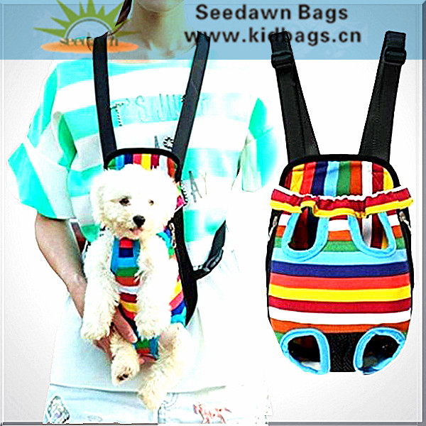 Floral Cotton Canvas Outdoor Travel Pet Carrier Backpack Bag for Puppy Dog Cat Feet Head Outside Cross Backing Straps