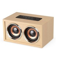 W5 TF Card Bluetooth Speakers Outdoor Stereo Bass Dual Loud USB Charging Retro Classic Wood Bass Speakers