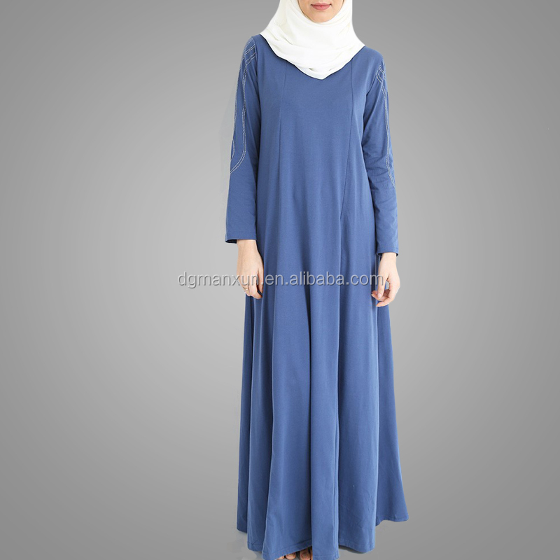 Plus Size Islamic Women Clothing New Year Hotsale Casual Blue Kaftan Dress Arabic Jilbab High Quality Stylish Muslim Dubai Abaya