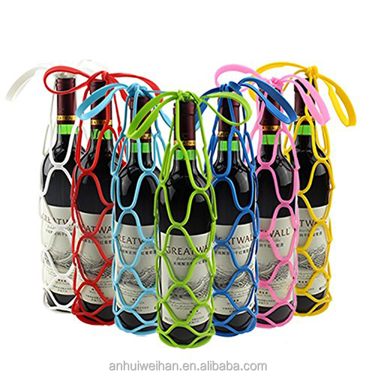 Silicone Foldable Wine Bottle Bag Tote Basket Carriers Holders for Outdoor Activities, Picnic