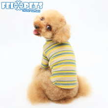 XXXS Striped Cotton Tshirts Pet Dog Clothes High Collar Printed Apparel For Teddy