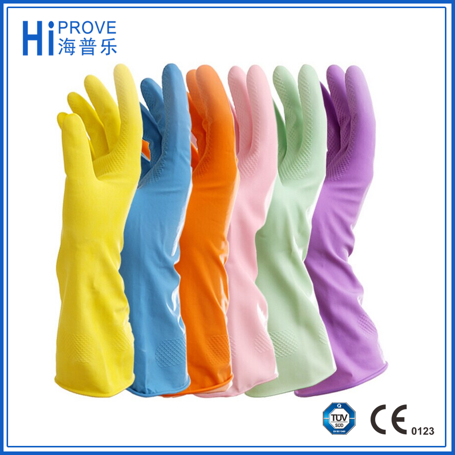 Long Type Latex Household gloves /Hand gloves for home work with beautiful colors