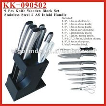 (KK-090503) 9 Pcs Kitchen Knife Set with Wooden Block /POM Handle