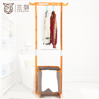 China Factory Unique Home Hotel Use Bamboo Dry Clothes Rack With Laundry Basket