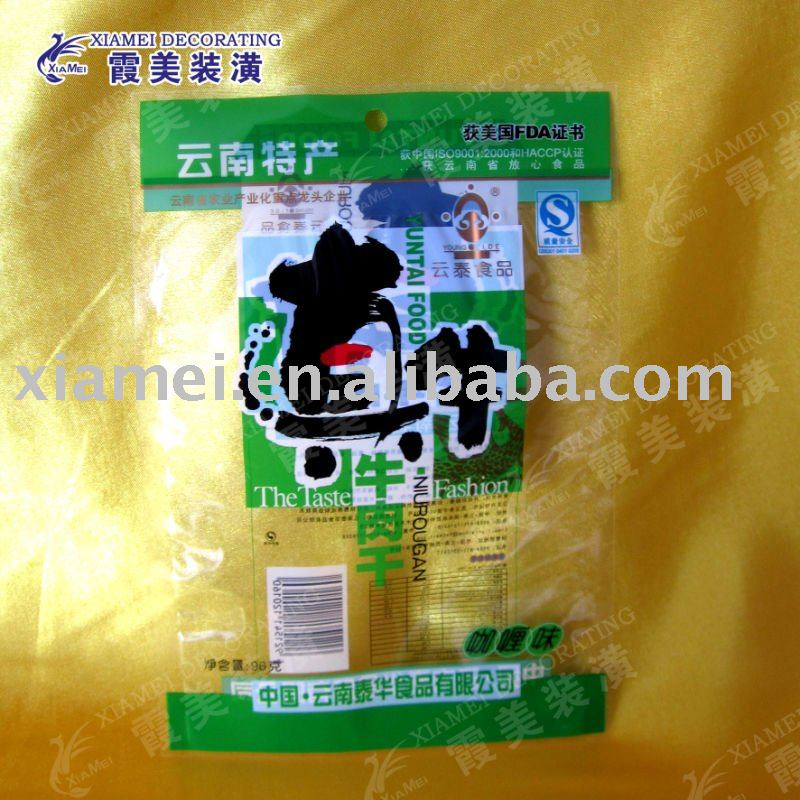 clear BOPP/CPP green beef jerky packaging plastic pouch