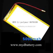 tablet pc replacement battery 3.7v 5000mAh, rechargeable battery 3.7v 5000mAh, 5Ah lithium battery