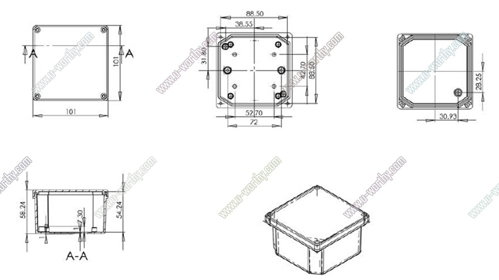 square aluminium alloy outdoor junction box electrical enclosure 4 u0026quot  4 u0026quot  2 3 u0026quot