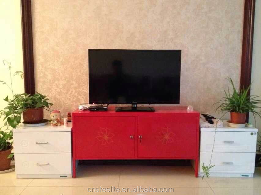 High gloss steel living room furniture wall mounted tv cabinets