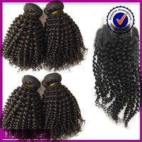 Hot sale high quality afro kinky hair free/two/three part ways peruvian bohemian hair lace closure