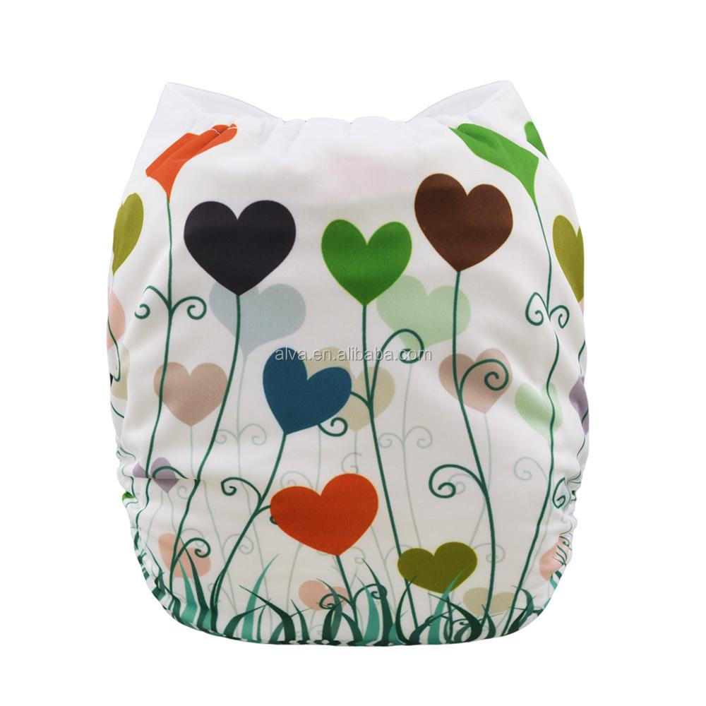 ALVABABY Heart Design Baby Ecological Diapers Cloth Diaper Factory in China