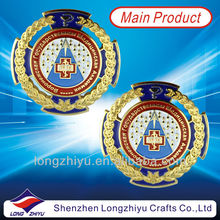 Metal souvenir medal pins with custom logo with butterfly cloth with safety with plated gold pin for sales/gift /promotional