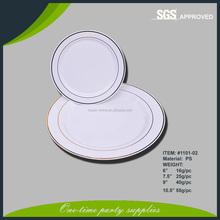 Disposable Round PS Plastic Plate with silver rim