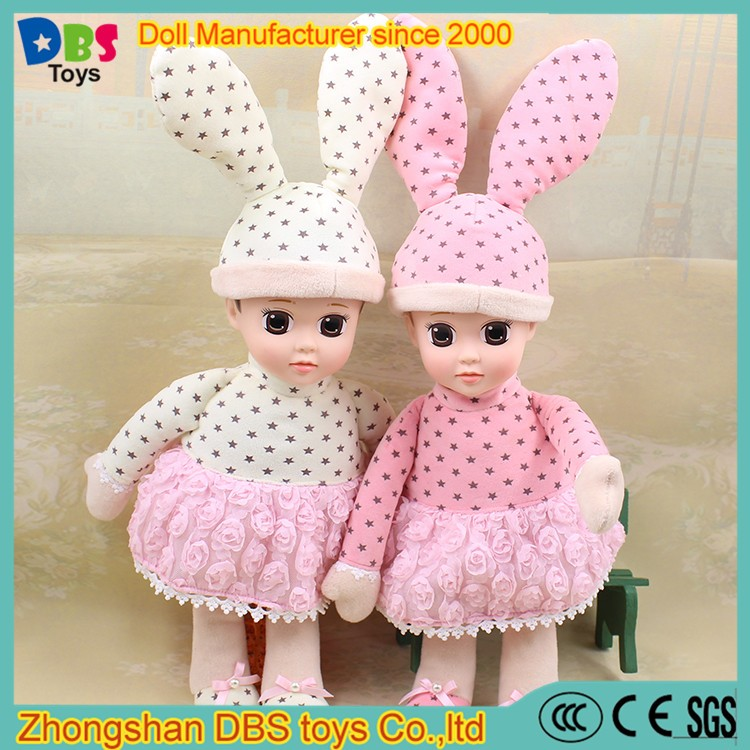 (YW-XR170102) DBS cute Rabbit Doll Hat plush baby toys doll with clothes