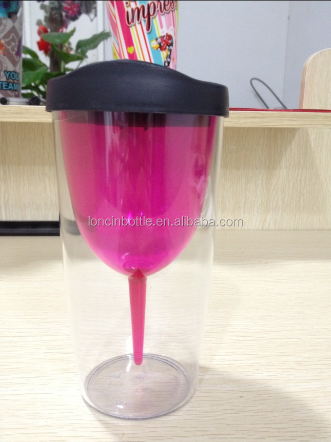 2016 new Insulated Wine Tumbler Cup With Drink-Through Lid,vacuum plastic shot glass,thermal traveler wine tumbler