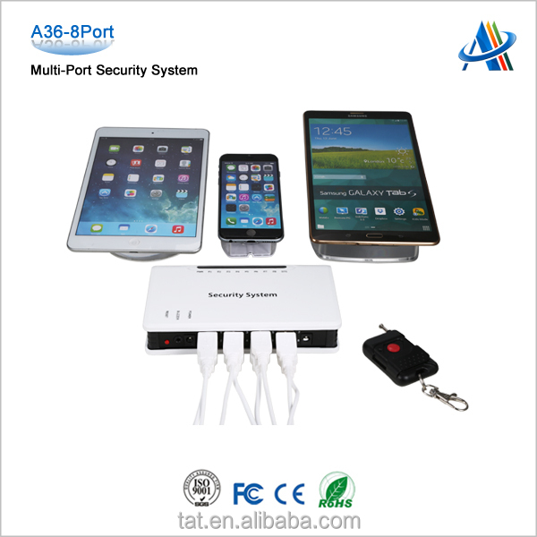 Retail open display security solutions,central alarm unit supervises the status of security device for tablet /smartphone