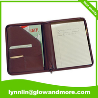 Leather Zip Around Writing Padfolio A4