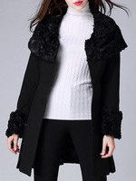 Coats Boutique fashion women christmas latest design Black Round Neck Long Sleeve Stitching Plush Coat