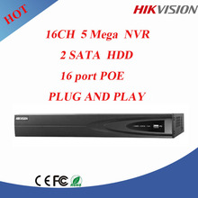 Hottest Hikvision 5MP 16ch nvr english firmware 16ch poe nvr 2sata cctv nvr