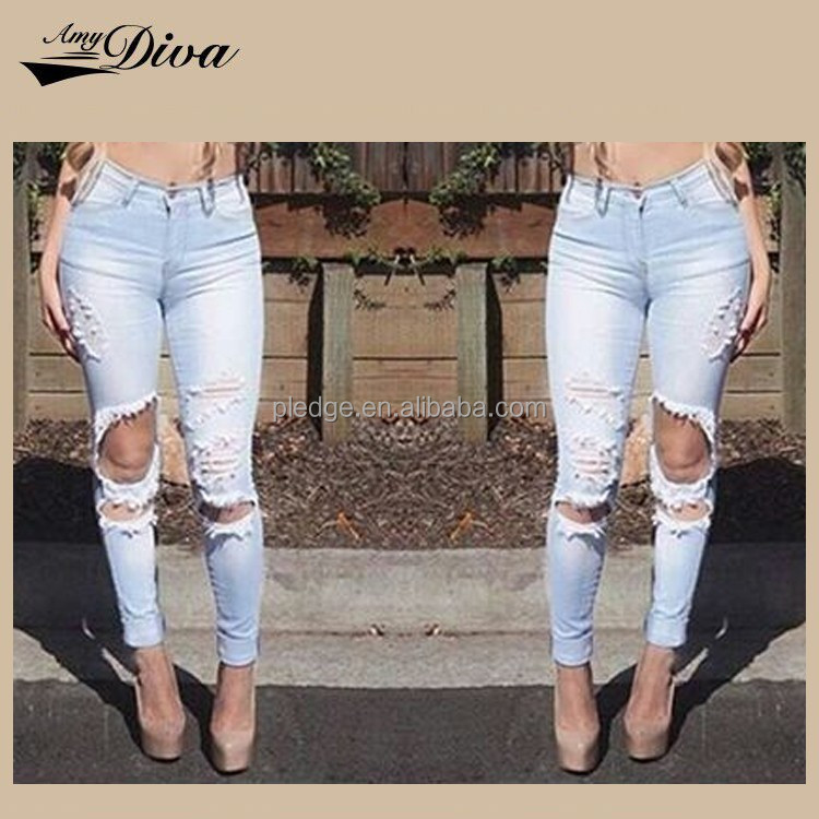 New fashion jeans pants buy jeans in bulk high waist distressed skinny female jeans