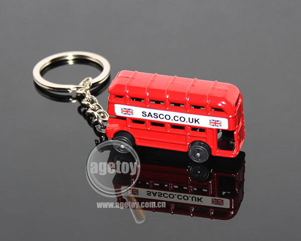 3D Red Bus Shaped Promotional Souvenir Customized Printing Double-deck London Bus Key Holder