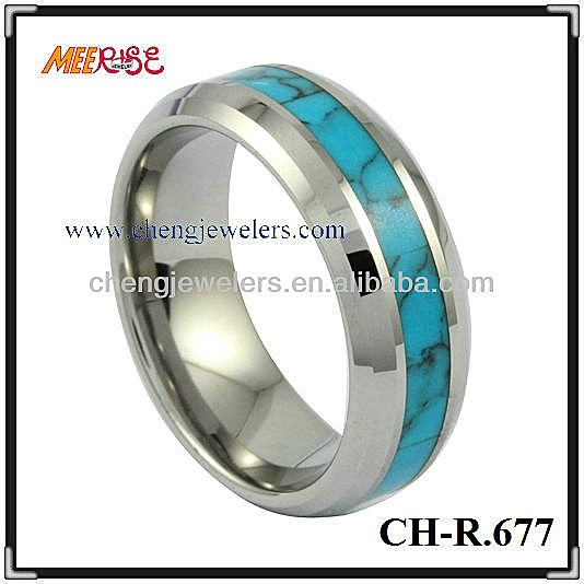 Turquoise jewelry mens wedding rings tungsten beveled edge ring