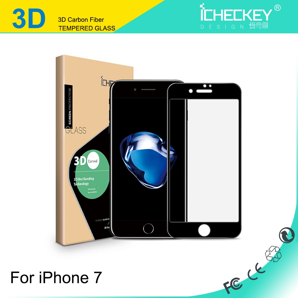 0.2mm 3D curved full coverage AGC Brand Glass Super-thin Durable tempered glass screen protector for iphone 7