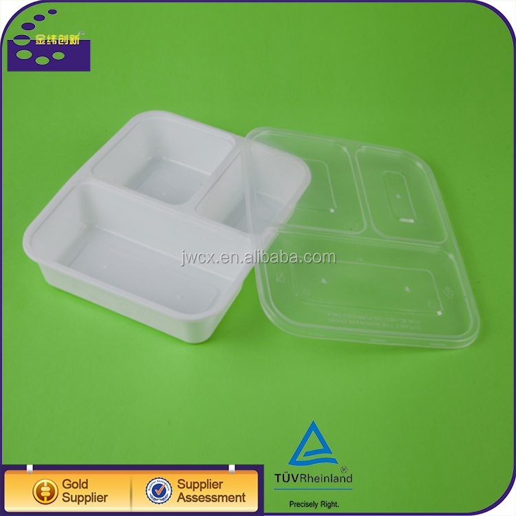 disposable bento lunch box containers / 3-compartment plates with lids