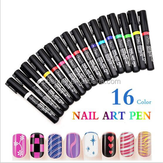 2016 120*12mm Nail Art 3D Drawing Dotting Pen, DIY 16 Colors Designed Nail Polish Pen