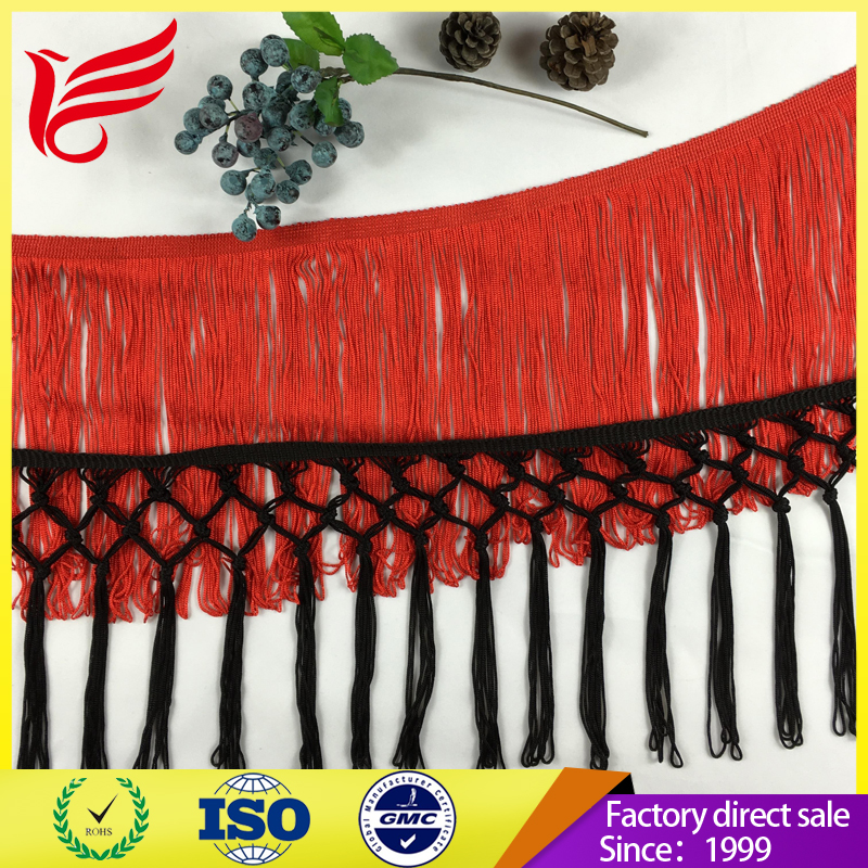 100% High quality rayon tassel fringe trims for shawl & garment fringe