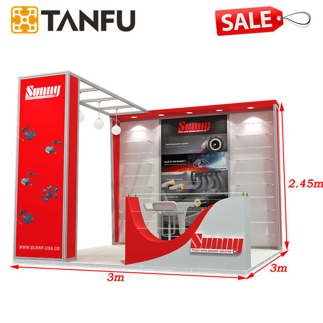 3x3 or 10x10 Modular Exhibition Stand with Shelves for Trade Show