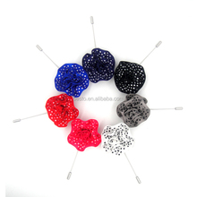 Wholesale handmade custom round dot fabric flower shape lapel pin for clothes