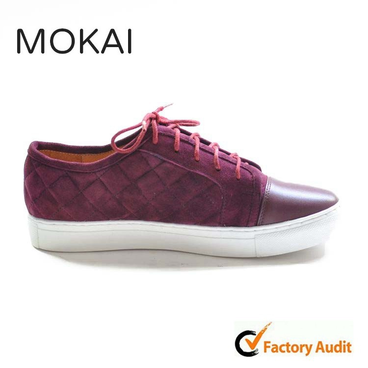 J001-MK9 WINE RED genuine suede leather top quality lace up casual flat shoes men/women