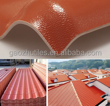 Light weight cheap corrugated orange red bamboo roof tile for mobile home