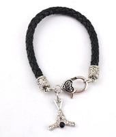 Ice Hockey Crystal Charms Black Leather Cord Bracelet Fashion Jewelry for Women Men Infinity Love Charm Bracelet