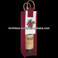 Resuable jute wine tote bag