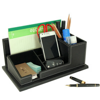 decotative pu leather apprentice pencil desk box organizer