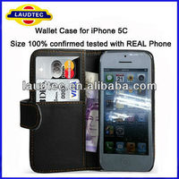 New Size 100% Confirmed Tested With REAL Phone Book Style Wallet Case For iPhone 5C Credit Card Flip Case For iPhone 5C Laudtec