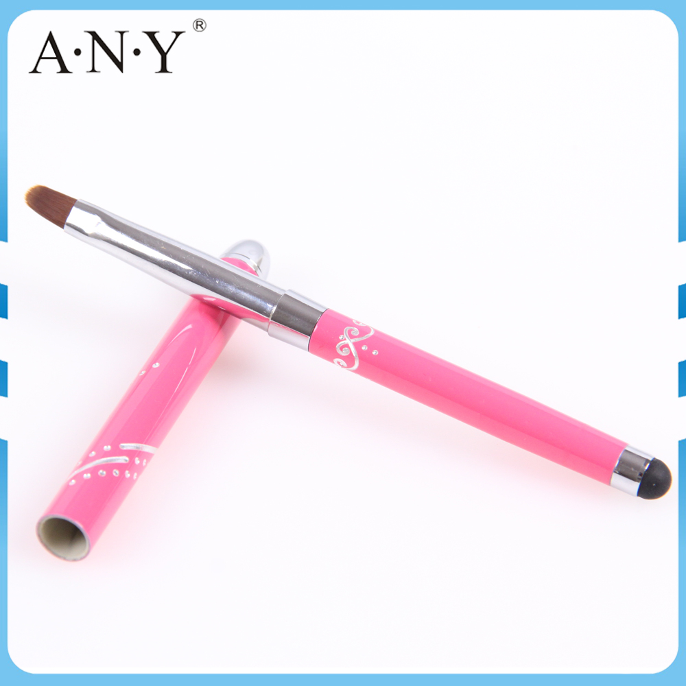 ANY Professional Nail Beauty Design Gel Nail Brush With Metal Handle Special End Can Touch Phone Screen