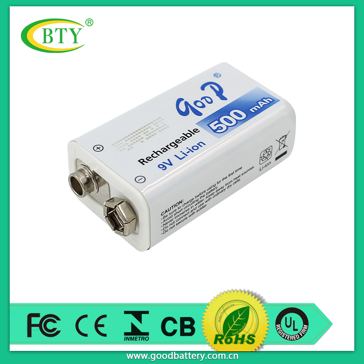 BTY brand new reliable 9 Volt 500mah li-ion Rechargeable 9V Batteries