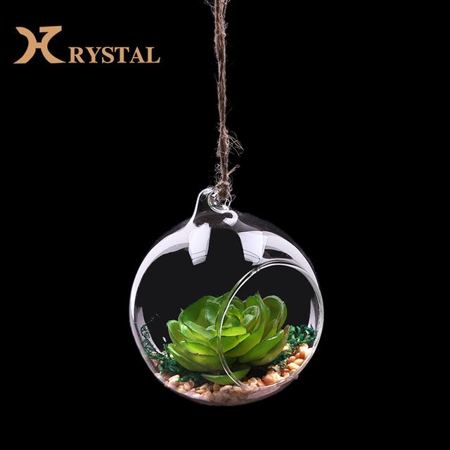 Wholesale Custom Blowing Artificial Hanging Plants Crystal Vases