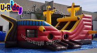 Inflatable private ship with slide
