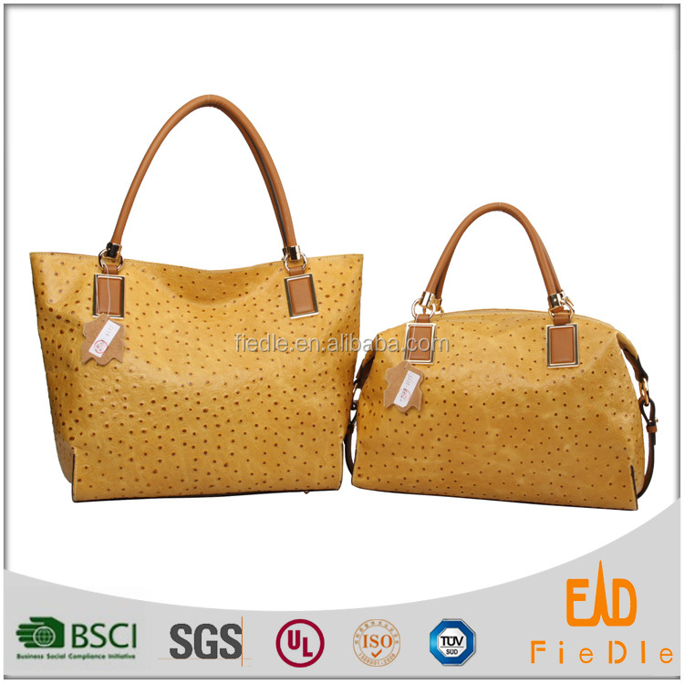S274-B2360&S275-B2360 Popular Brand Women 2 Pieces Set Tote Bag ostrich pattern genuine Leather Handbag Purse Bags